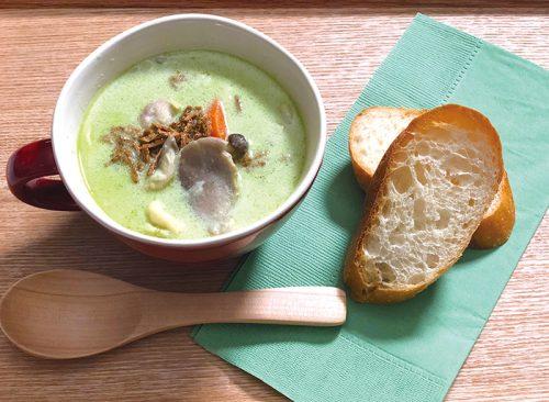 サンサンカフェ,緑効青汁,きのこ入りチキンシチュー