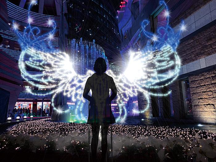 キャナルシティ,福岡市,博多区,住吉,クリスマス,パノラマ,イルミネーション,天使の羽根